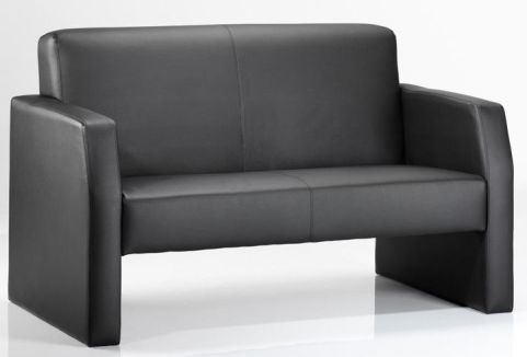 Melba Black Leather Two Seater Sofa