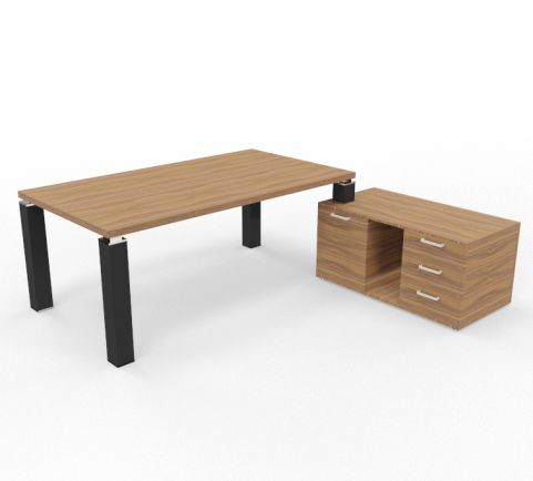 Tao Executive Desk 2000mm X 1000mm With Service Return And Pedestal Walnut