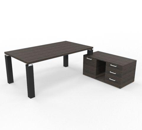 Tao Executive Desk 2000mm X 1000mm With Service Return And Pedestal Dark Oak