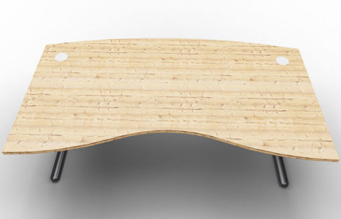 Optimize Managers Double Wave Desk Timber Top
