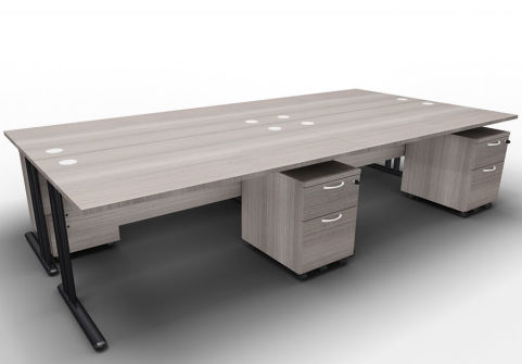 Optimize Four Desk And Mobile Pedestal Bundle Cedar