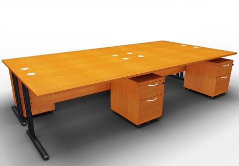 Optimize Four Desk And Mobile Pedestal Bundle Cherry