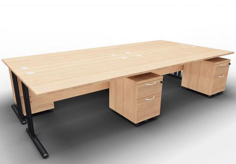 Optimize Four Desk And Mobile Pedestal Bundle Havana