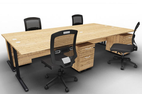 Optimize Four Desk And Mobile Pedestal Bundle Timber Chairs