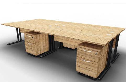 Optimize Four Desk And Mobile Pedestal Bundle Timber Right