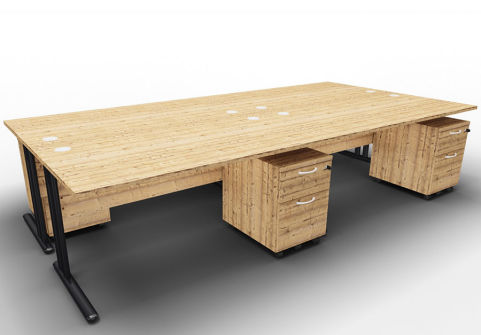 Optimize Four Desk And Mobile Pedestal Bundle Timber