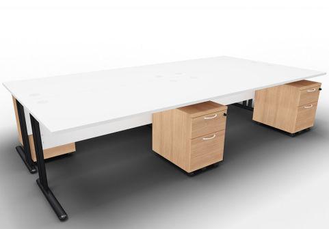 Optimize Four Desk And Mobile Pedestal Bundle White Havana