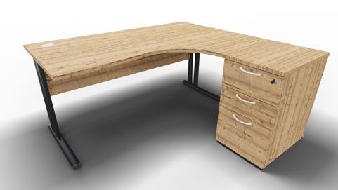 Optimize Right Hand Corner Desk And Ped Timber