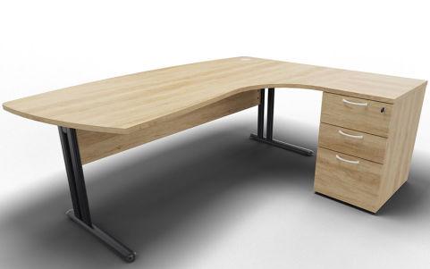 Optimize Right Hand Corner Desk And Ped Nebraska Oak