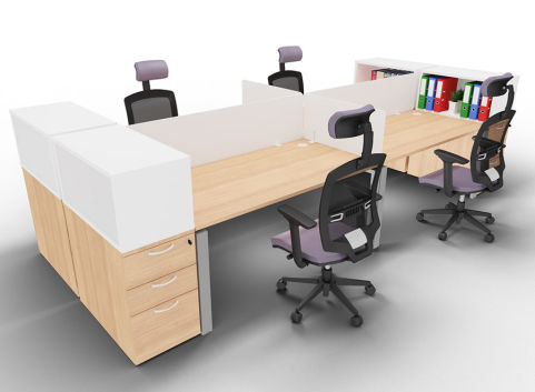Saturn Four Person Bench Desk End Storage