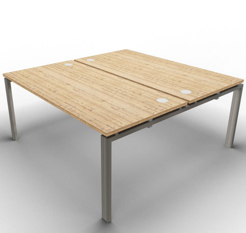 Saturn 2 Person Desk Timber Raw