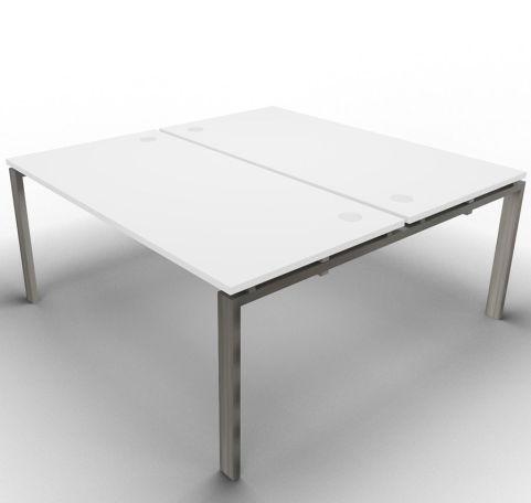 Saturn 2 Person Desk White Raw