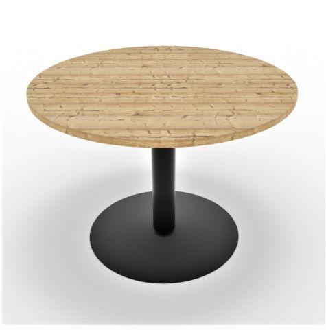 Optimize Circular Meeting Table Anthracite Base Timber Finish