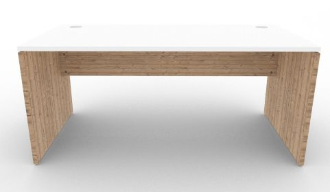 Oslo Rectangular Desk White And Timber Front View