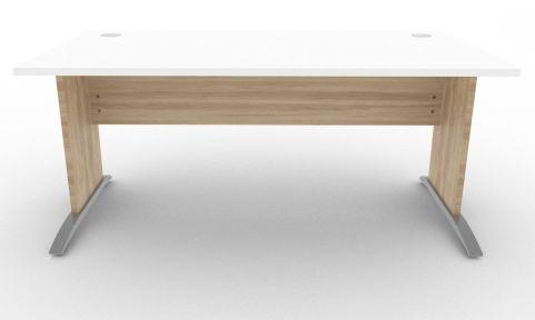 Oslo Rectangular Cantilever Frame Desk White And Nebraska Oak Front View