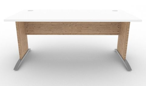 Oslo Rectangular Cantilever Frame Desk White And Timber Front View