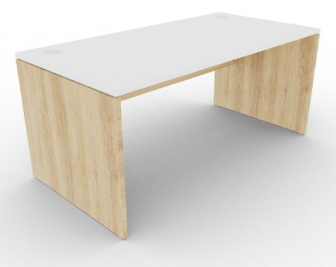 Oslo Rectangular Desk Nebraska Oak And White View
