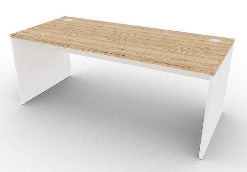 Oslo Rectangular Desk Timber And White