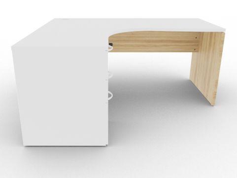 Oslo Left Hand Corner Desk Pedestal Bundle White And Nebraska Oak Front View