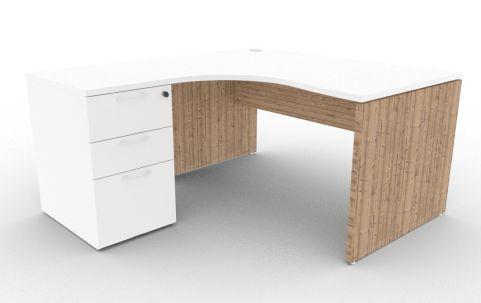 Oslo Left Hand Corner Desk Pedestal Bundle White And Timber