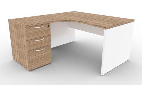 Oslo Left Hand Corner Desk Pedestal Bundle Timber And White