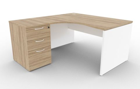 Oslo Left Hand Corner Desk Pedestal Bundle Nebraska Oak And White