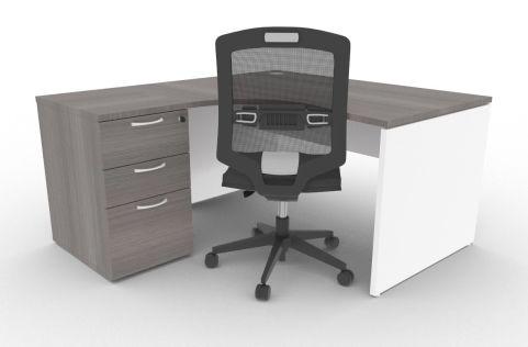 Oslo Left Hand Corner Desk Pedestal Bundle Cedar And White Mood View