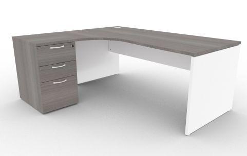 Oslo Left Hand Corner Desk Pedestal Bundle Cedar And White 1800mm