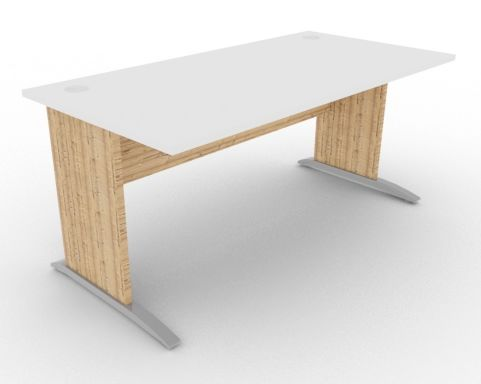 Oslo Rectangular Cantilever Frame Desk White And Timber View