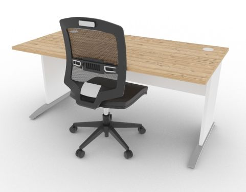 Oslo Rectangular Cantilever Frame Desk Timber And White Mood View
