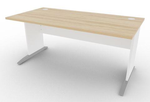 Oslo Rectangular Cantilever Frame Desk Nebraska Oak And White