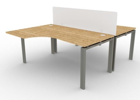 Saturn 2 Person Bench Desk And Acrylic Screen Timber