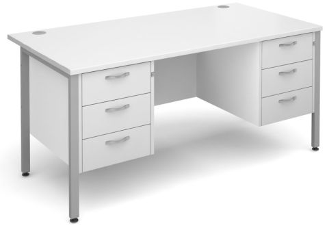 GM H Frame Double Pedestal White With Silver Frame