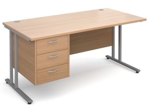 GM Cantilever Desk With Three Drawer Pedestal Beech With Silver Frame