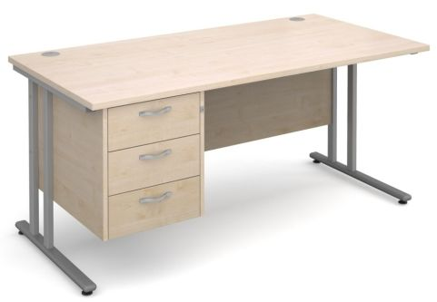 GM Cantilever Desk With Three Drawer Pedestal Maple With Silver Frame