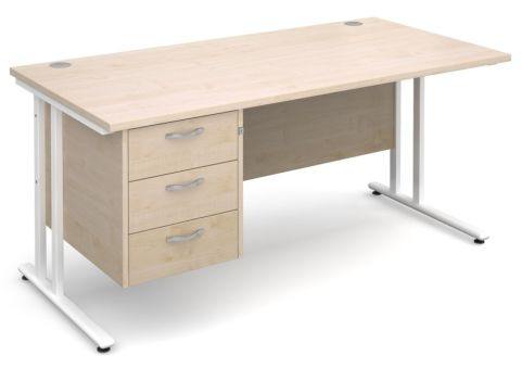 GM Cantilever Desk With Three Drawer Pedestal Maple With White Frame