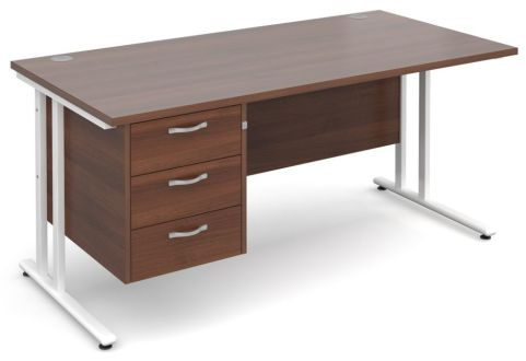GM Cantilever Desk With Three Drawer Pedestal Walnut With White Frame