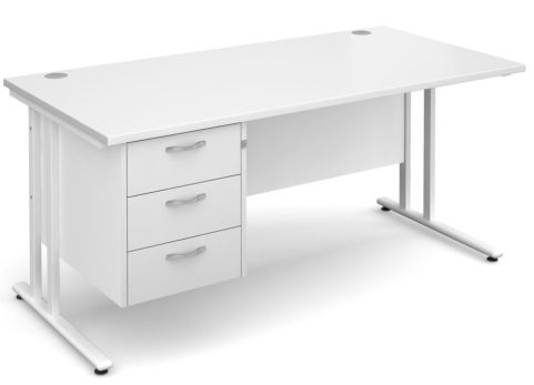 GM Cantilever Desk With Three Drawer Pedestal White With White Frame