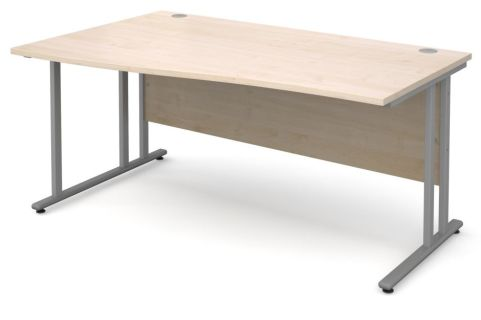 GM Left Hand Wave Desk Maple With Silver Frame
