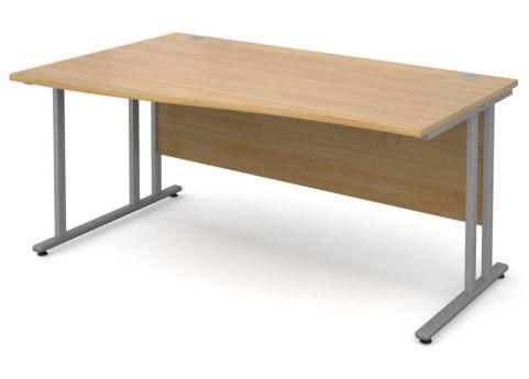 GM Left Hand Wave Desk Oak With Silver Frame