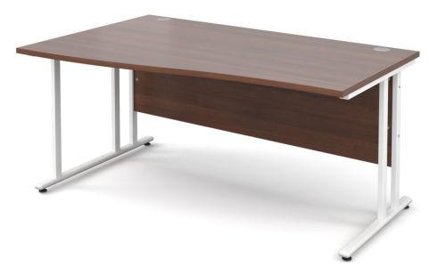 GM Left Hand Wave Desk Walnut With White Frame