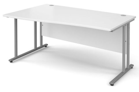 GM Left Hand Wave Desk White With Silver Frame