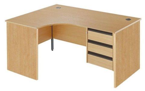 Maddellex Panel Left Hand Desk 3 Drawers Ped Beech