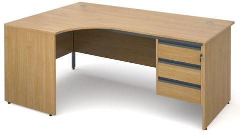Maddellex Panel Left Hand Desk 3 Drawers Ped Oak