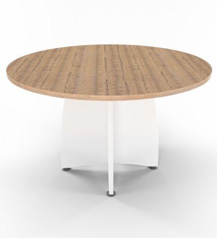 Optimize Table 1200mm Diameter Timber Top White Base