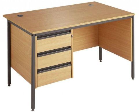 Maddellex H Frame Side Panel Desk With 3 Drawer Pedestal