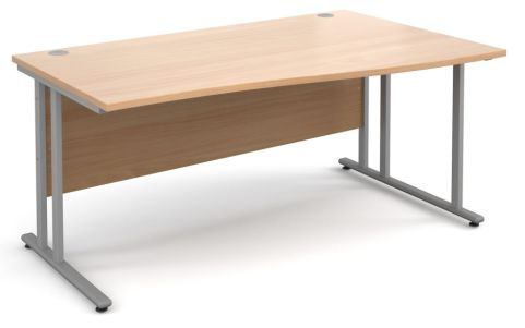 Momento Right Hand Wave Desk Beech And Silver