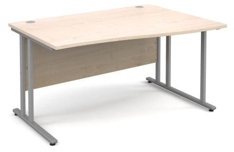 Momento Right Hand Wave Desk Maple And Silver