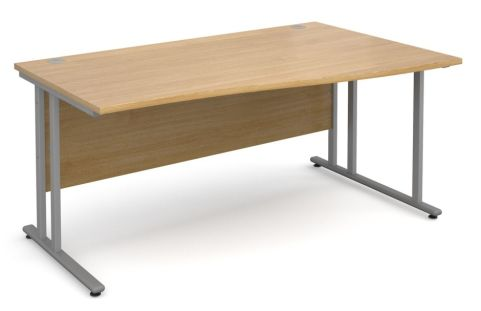 Momento Right Hand Wave Desk Oak And Silver