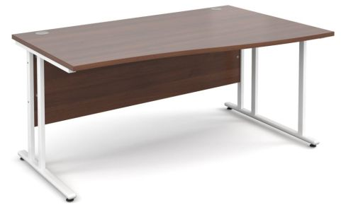 Momento Right Hand Wave Desk Walnut And White